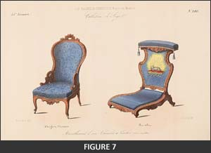 chaise prie-dieu (kneeling chair), an upholstered chair with a high, straight back and a low seat