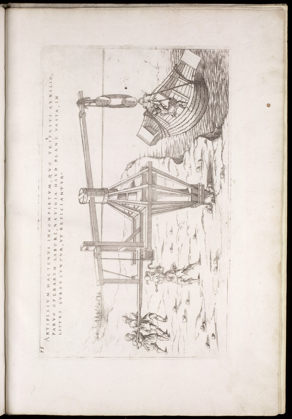 Plate 55 [Hauling a ship onto land],  Image number:SIL4-2-143a