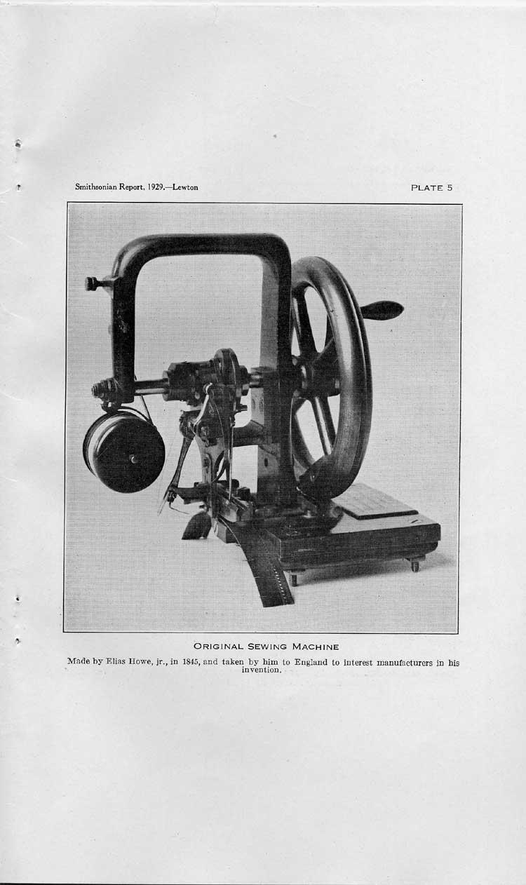 Plate 5: Original Sewing Machine, Made by Elias Howe jr., in 1845,  Image number:sil10-4962-32a