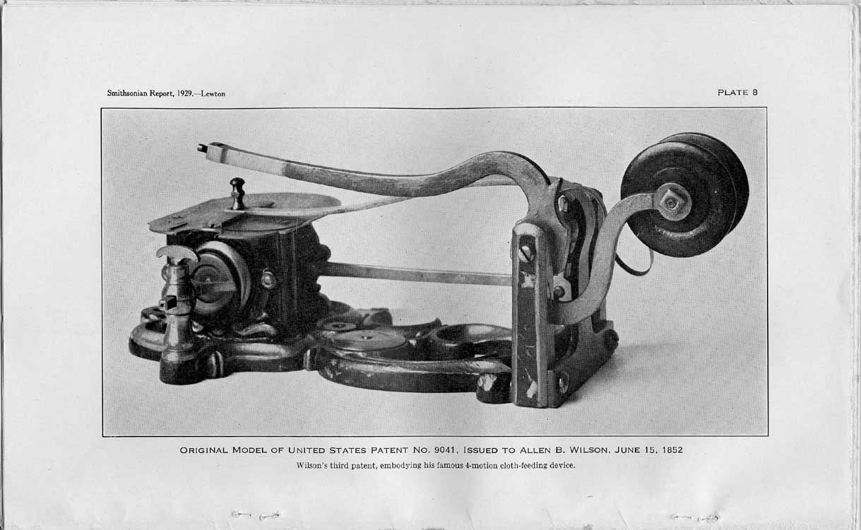 Plate 8: Original model of U.S. Patent No. 9041, issued to Allen B. Wilson, June 15, 1852,  Image number:sil10-4962-35a