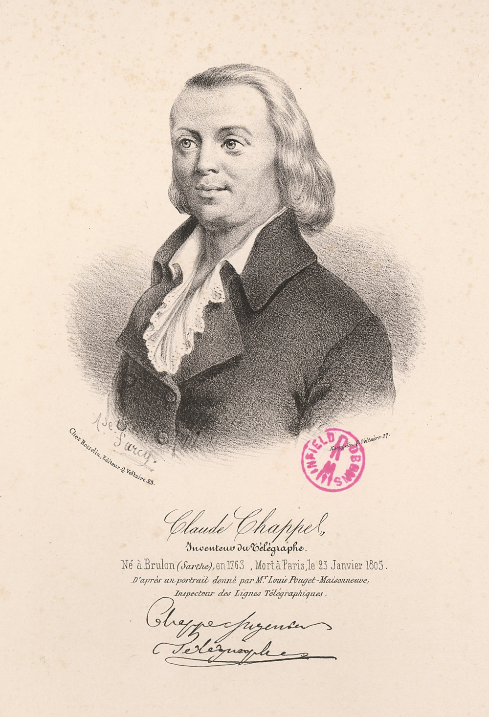 Portrait of Claude Chappe,  Image number:SIL14-C3-01a