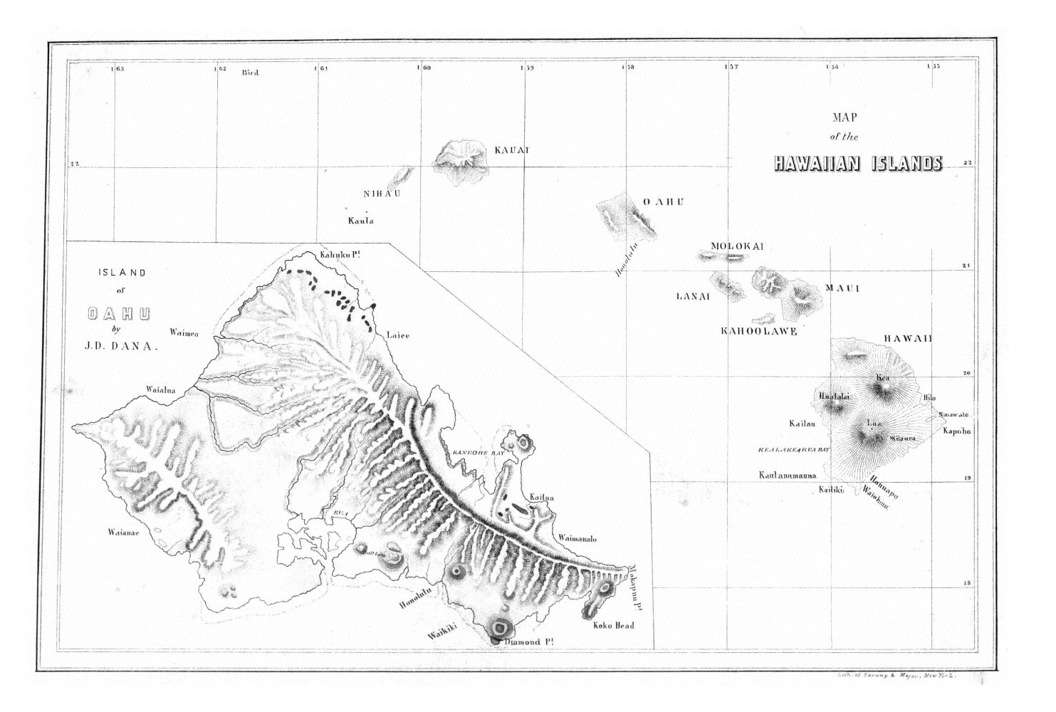 Map of the Hawaiian Islands,  Image number:Sil19-14-163