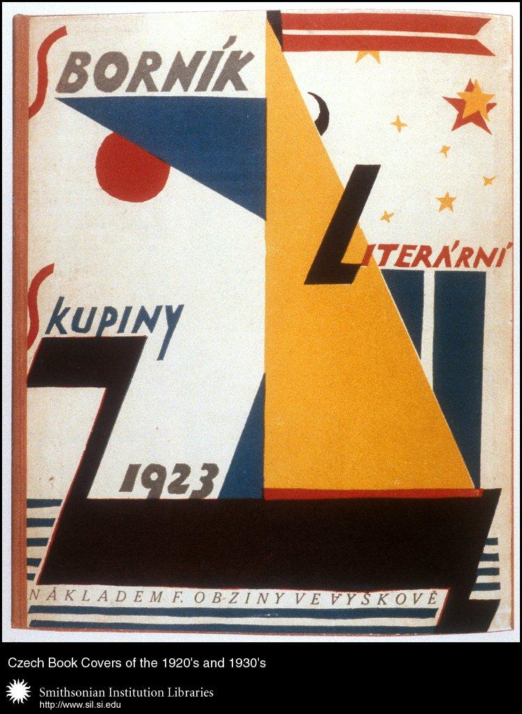 Book cover design by Petr Pistelka (?) for <em>Sborník Literární skupiny</em>   (Miscellany of the Literary Group) edited by Lev Blatny, et. al. Vyškov na Moravĕ, Fr. Obzina, 1923.,  Image number:sil99-002