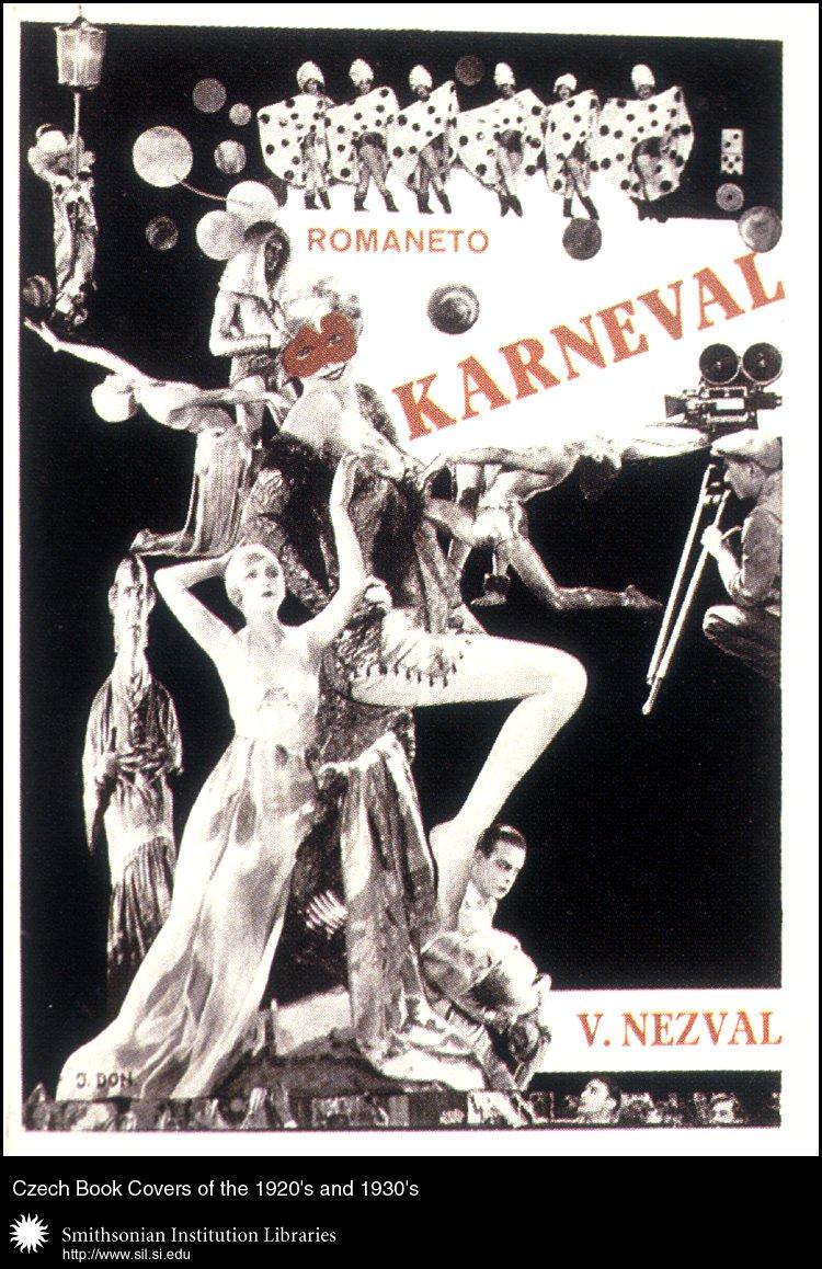 Book cover design by J. Don for <em>Karneval. Romaneto</em>   (Carnival: a Novella) by Vítězslav Nezval. Praha, Odeon, 1926.,  Image number:sil99-009