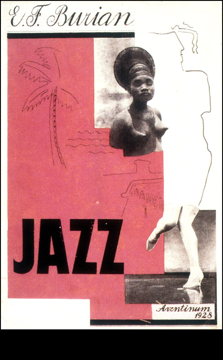 Book cover design by Karel Šourek for <em>Jazz</em>   by Emil František Burian. Praha, Aventinum, 1928.,  Image number:sil99-012
