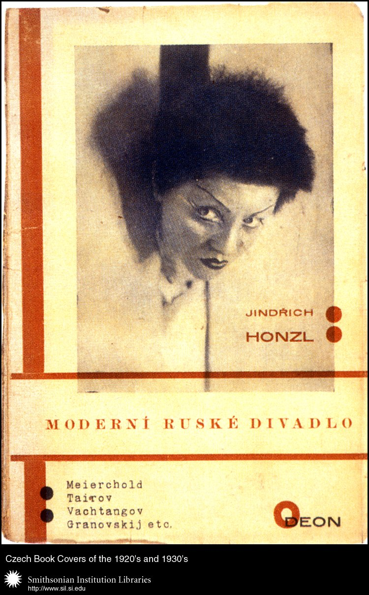 Book cover design and typography by Karel Teige for <em>Moderní ruské divadlo</em>   (The Modern Russian Theater) by Jindřich Honzl. Praha, Odeon, 1928.,  Image number:sil99-013