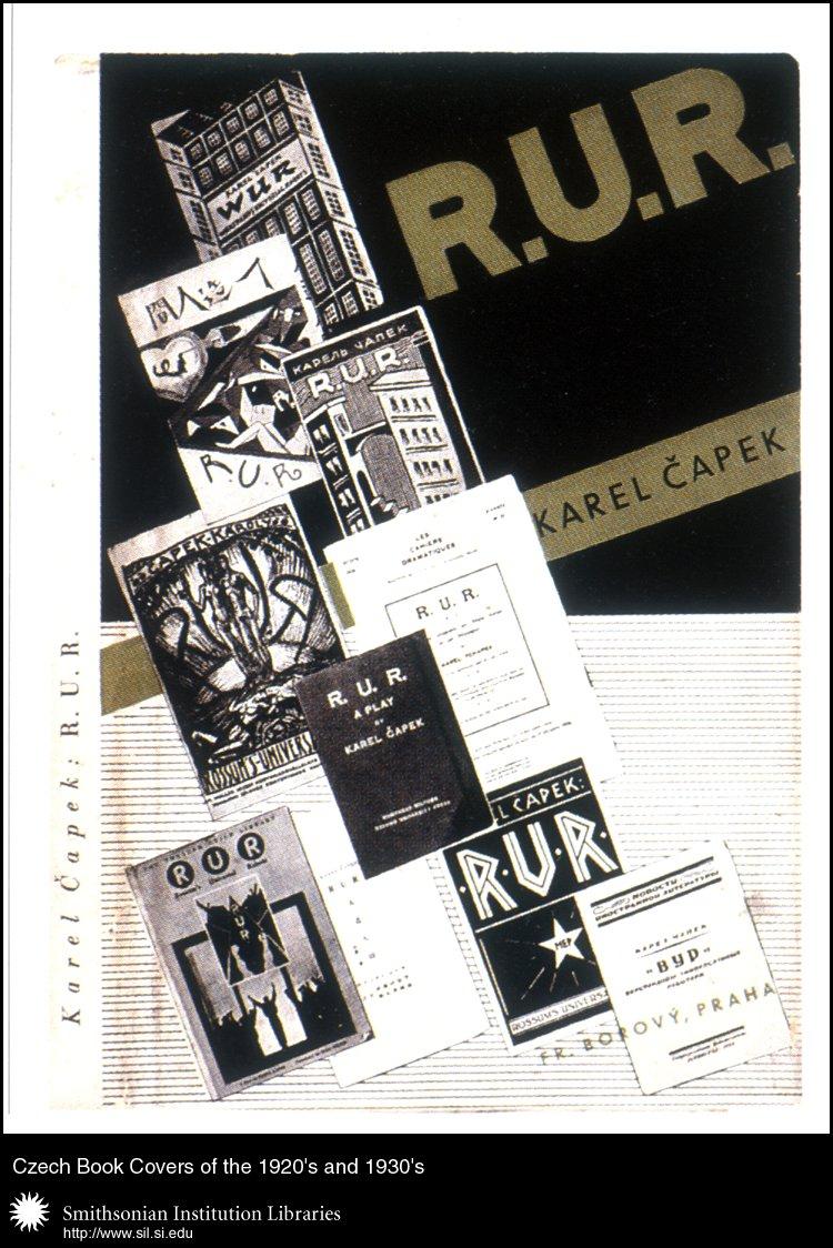 Book cover design by František Muzika for <em>R.U.R. </em>   by Karel Čapek. Praha, František Borovy, 1935.,  Image number:sil99-022