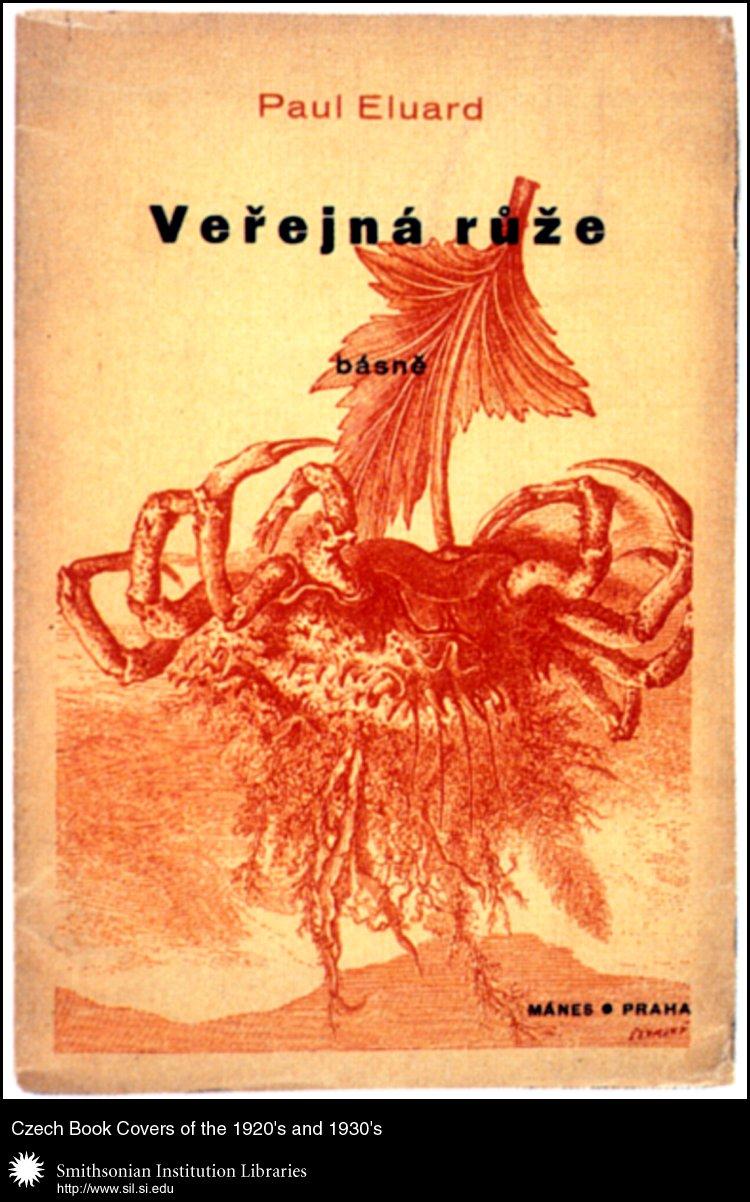 Book cover design by Jindřich Štyrsky for <em>Veřnjná růže. Básně</em>   (La Rose publique) by Paul Eluard. Praha, Mánes, 1936.,  Image number:sil99-025