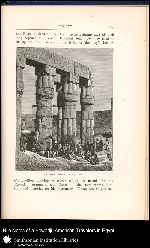 Wood engraving of tourist group in Luxor (p. 453),  Image number:SIL28-43-05