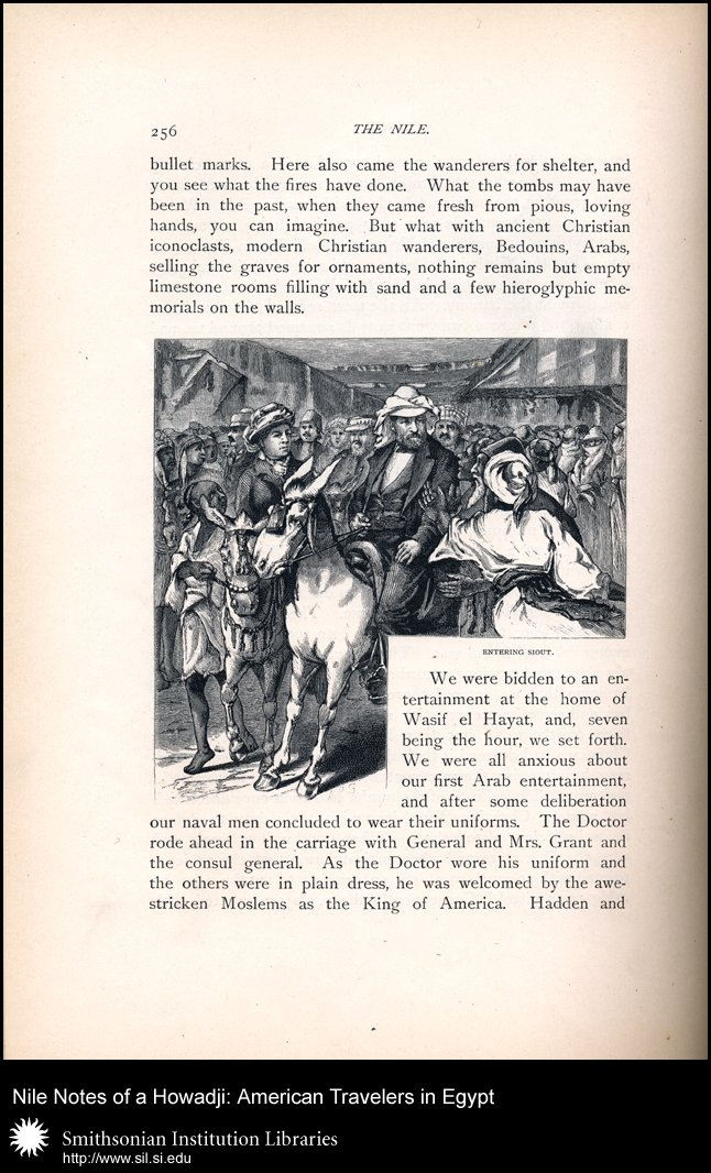 President and Mrs. Grant entering Siout on horse and donkey (p . 256),  Image number:sil28-48-09