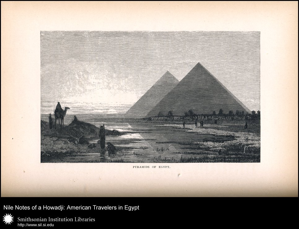 Romanticized view of the pyramids at sunset (p. 296),  Image number:sil28-48-12