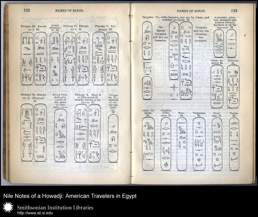 Double page spread of Names of Kings in hieroglyphics (pp. 122-123),  Image number:sil28-56-03