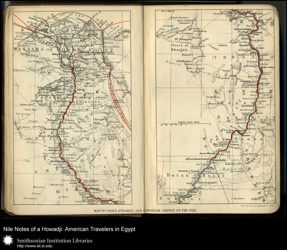 Flyleaf, double page spread, Map of Cook's Steamer and Dahabeah Service on the Nile,  Image number:sil28-57-02