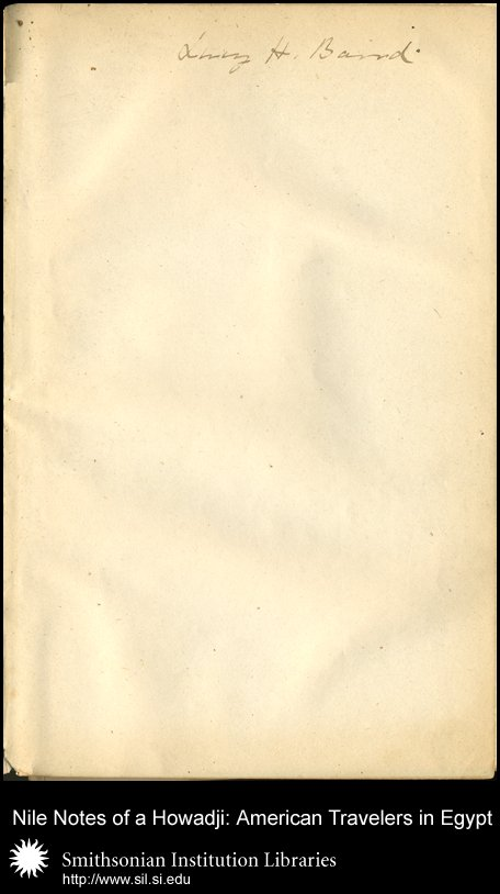 Flyleaf, with Lucy H. Baird's, daughter of Spencer F. Baird, signature,  Image number:sil28-58-02