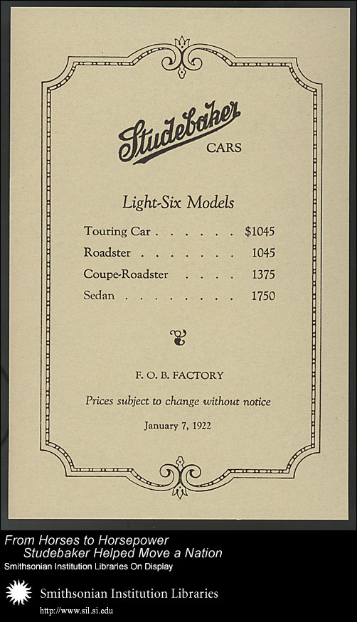 Studebaker price list, January 7, 1922,  Image number:SIL28-40-04