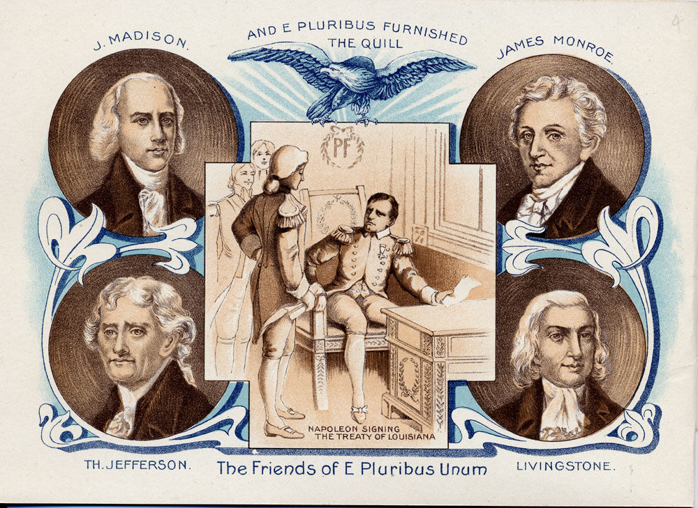 Portraits of James Madison, James Monroe, Thomas Jefferson, Livingston; Napoleon signing Louisiana Purchase,  Image number:SIL-029-014-04