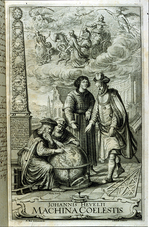 Four male figures (including Tycho Brahe, Copernicus, and possibly Ptolemy and Aristotle) contemplate a celestial globe; allegorical figures surround them,  Image number:2000-5461