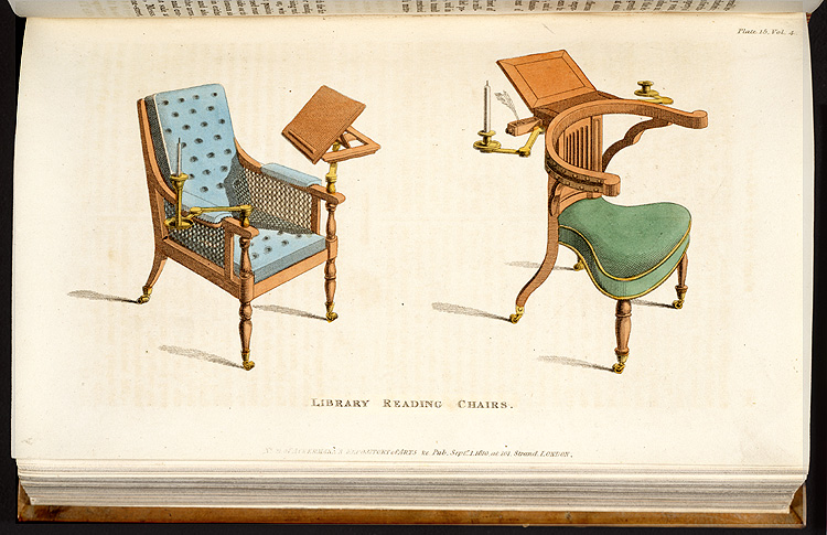 Plate opp. p. 182, plate 15, Library reading chairs,  Image number:SIL7-221-03