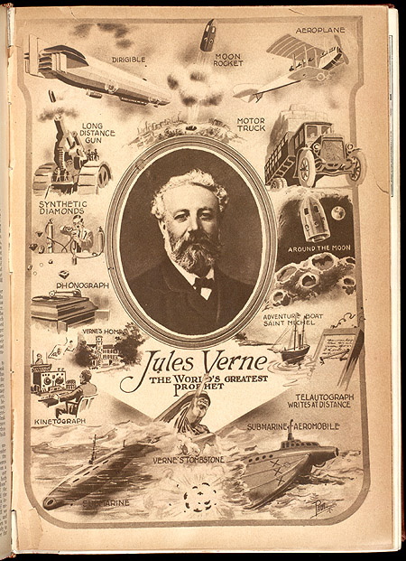 Jules Verne illustration, surrounded by his inventions.,  Image number:SIL7-30-01