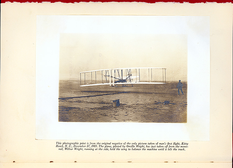 The photographic print is from the original negative of the only pircutre takend of man's first flight, Kitty Hawk, N.C. . . ,  Image number:SIL7-136-01