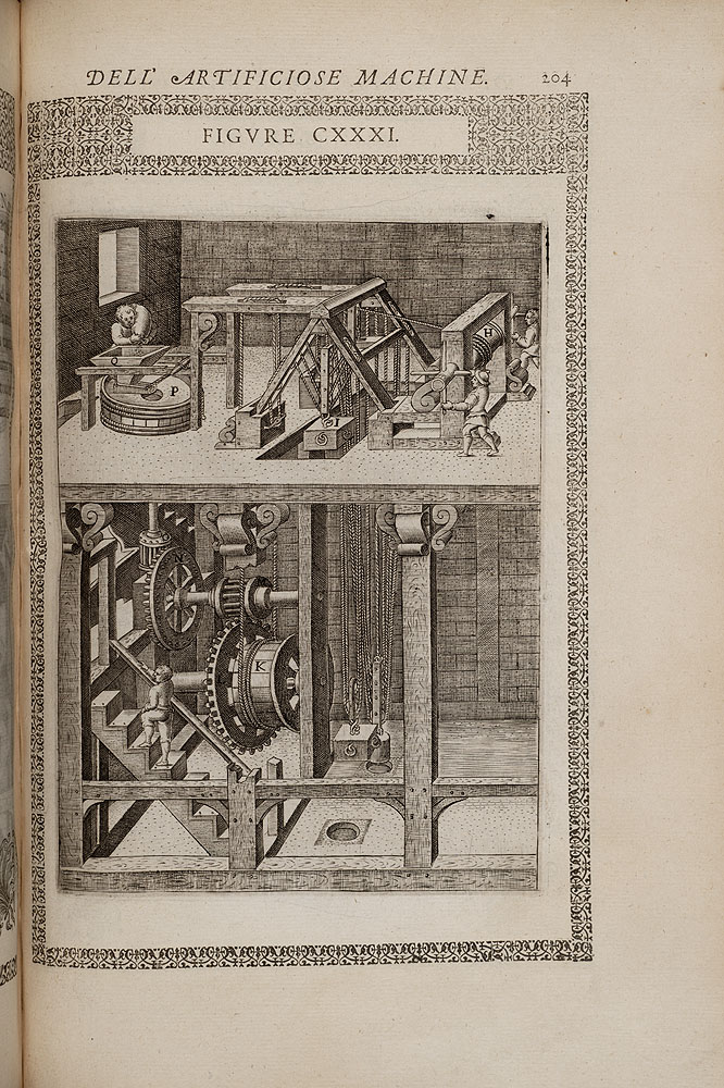 Engraved Image from a book of renaissance machines depicting a two-story machine with the gears on lower floor of the building.