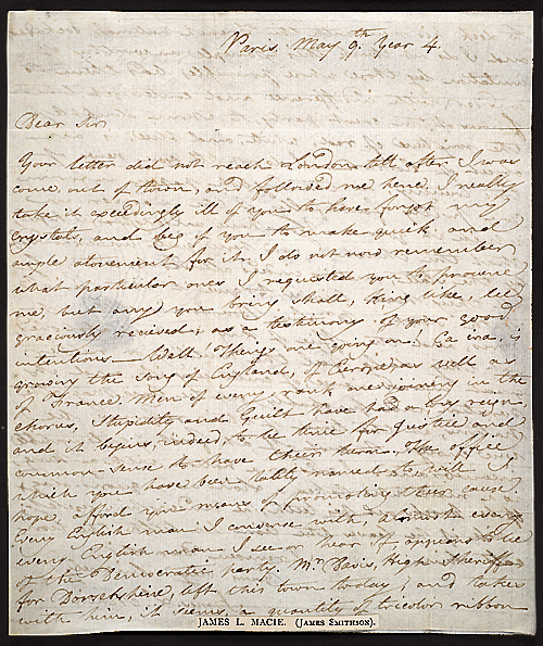 Letter of James Smithson,  Image number:SIL7-216-01