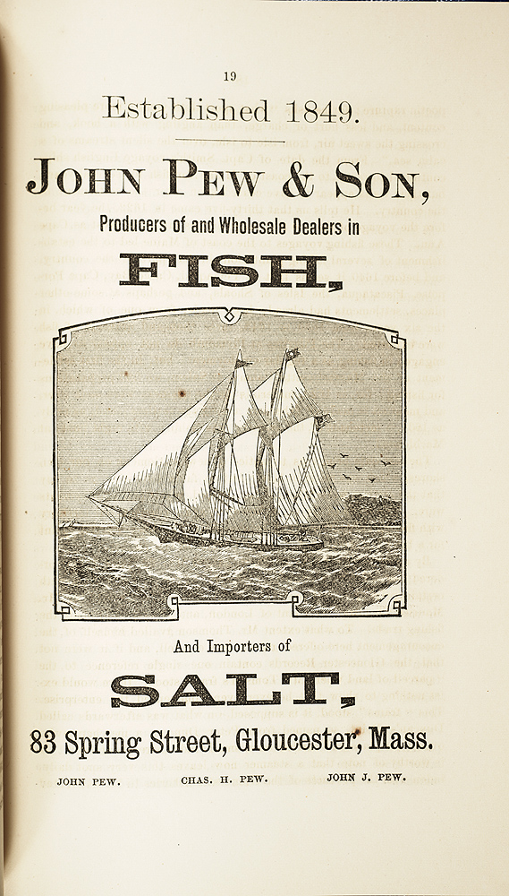 Print advertisement for John Pew & Son, dealers in fish and importers of salt, Gloucester, Mass.,  Image number:SIL7-303-03