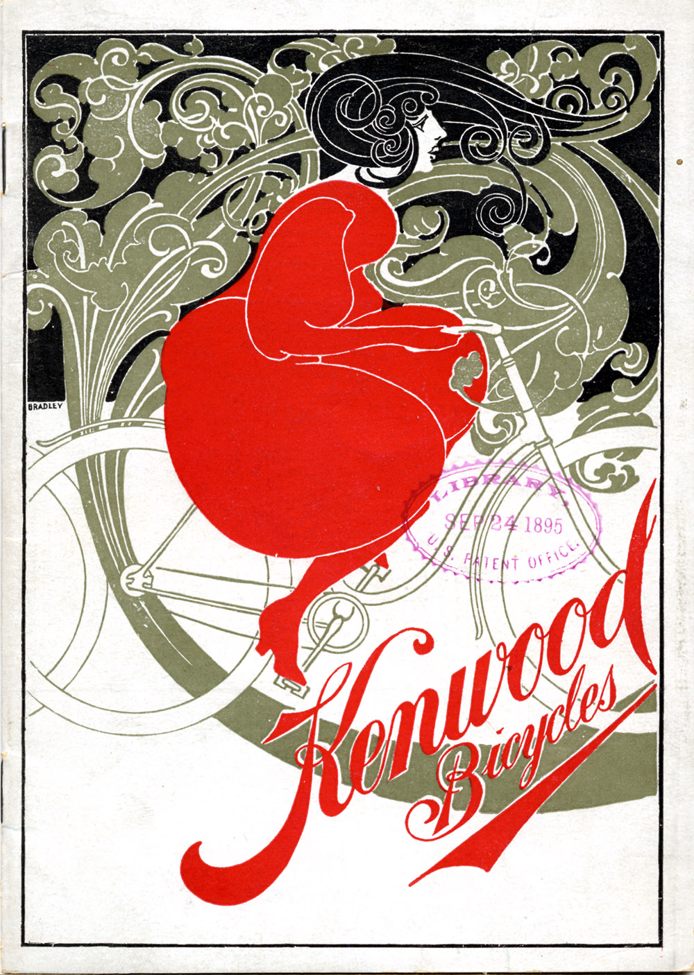 Stylized illustration of a woman riding a bicycle (front cover),  Image number:SIL-029-017-01
