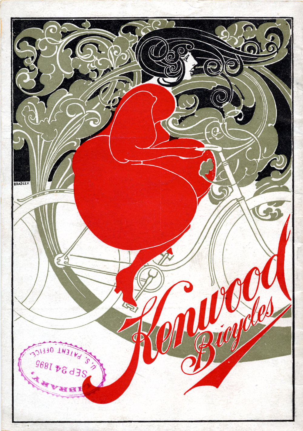 Stylized illustration of a woman riding a bicycle (back cover),  Image number:SIL-029-017-36