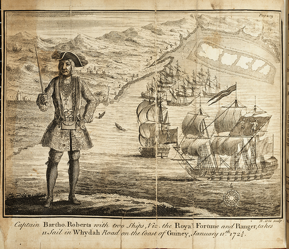 Captain Bartho. Roberts with two ships, Viz. the Royal Fortune and Ranger, takes Sail in Whydah Road on the Coast of Guiney, January 11th, 1721/2.,  Image number:SIL33-070-04