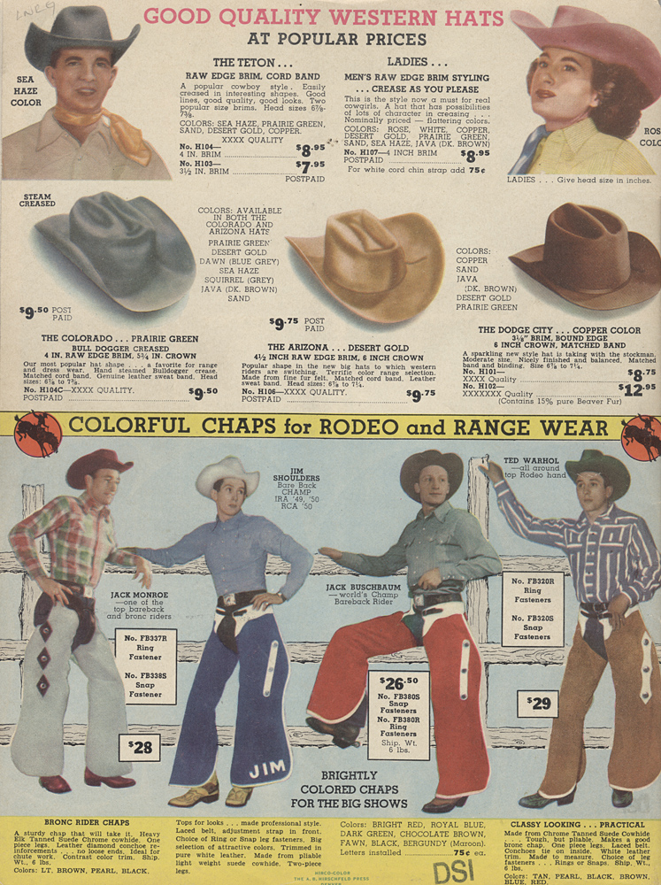 Western hats and chaps,  Image number:SIL-038-08-03