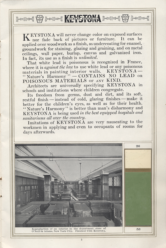 Keystona will never change color on exposed surfaces (Reproduction of an interior in the department store of O'Neill & Adams, New York City picture) Color samples 26 & 53 included.,  Image number:SIL-038-23-07