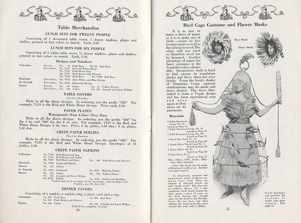 Dennison Manufacturing Co., 1917 Party Book, 1917, holiday party goods; Bird Cage Costume and Flower Masks