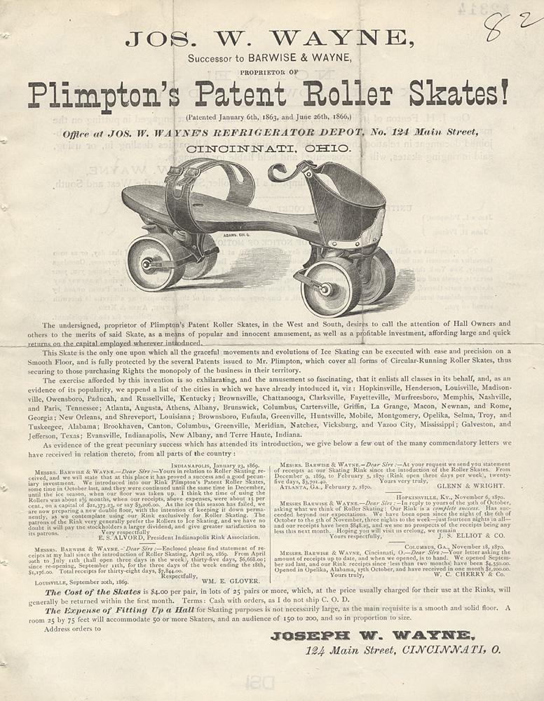 Plimpton's Patent Roller Skates