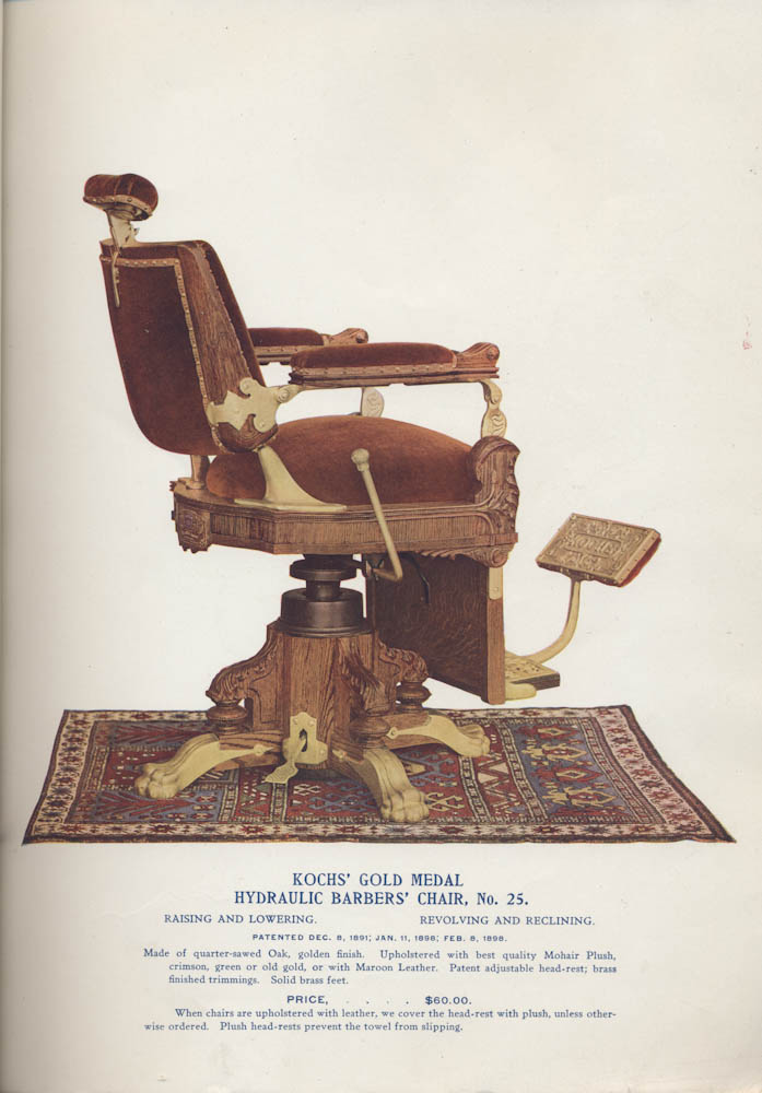 Kochs Gold Medal Hydraulic Barbers Chair No 25