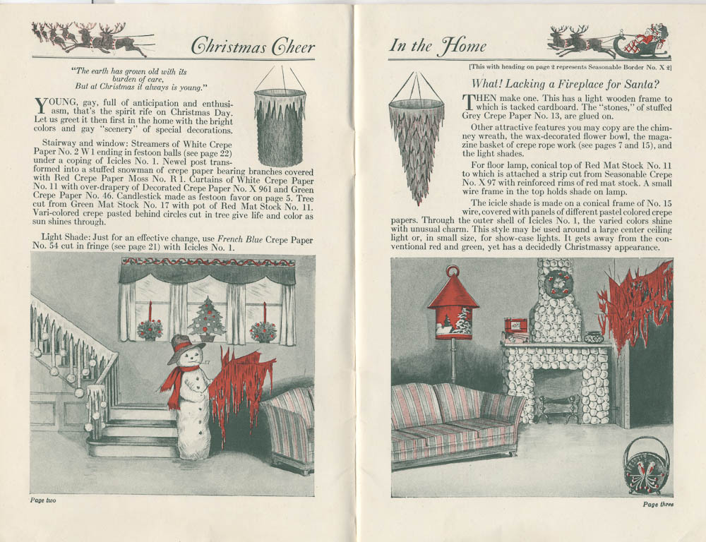 Christmas decorations including snowman and fireplace from Dennison's Christmas Book, 1923