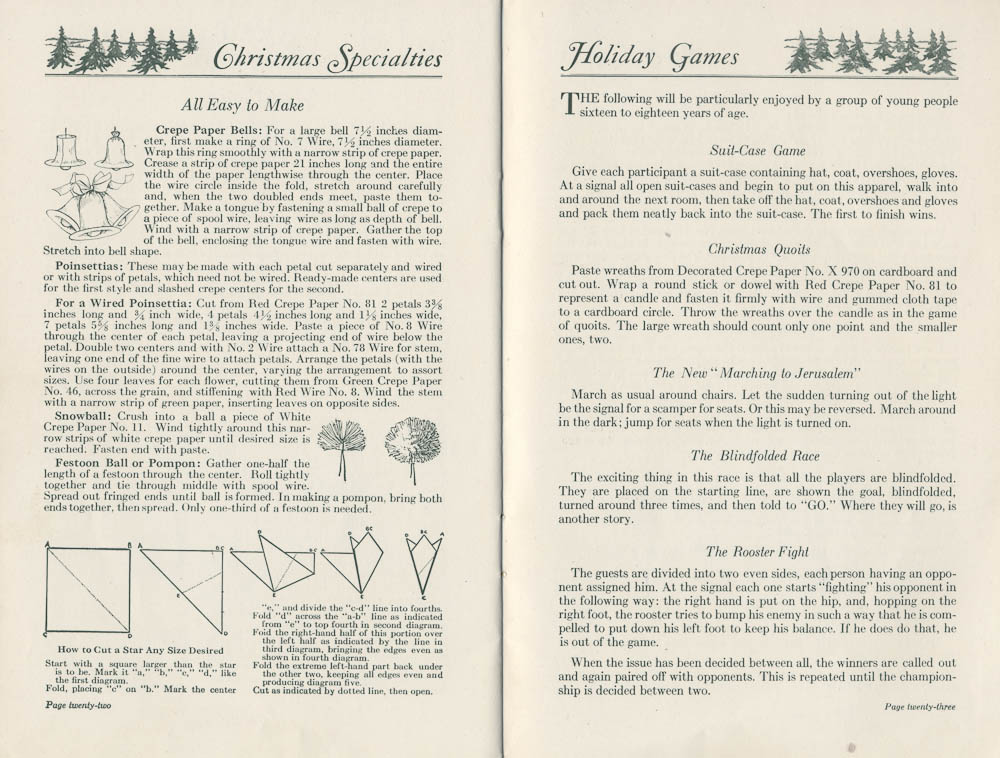 Instructions for crepe paper decorations and ideas for holiday games from Dennison's Christmas Book, 1923