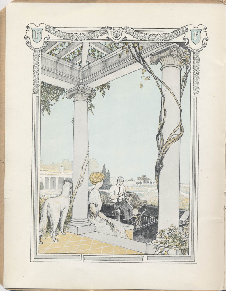 Image from a 1909 Peerless Motor Car Co. trade catalog of man driving a car and woman sitting on a porch.