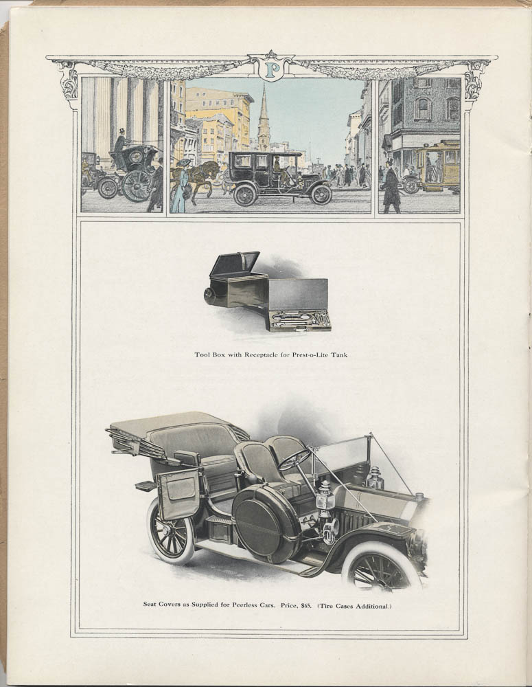 Image from a 1909 Peerless Motor Car Co. trade catalog of a car driving in the city and images of tool box and seat covers for Peerless Cars