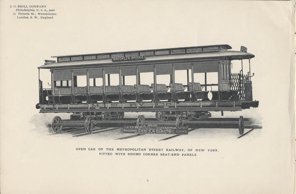 Image of Open Car of the Metropolitan Street Railway of New York from a 1901 J. G. Brill Co. trade catalog entitled Patented Round Corner Seat-End Panel for Open Cars.