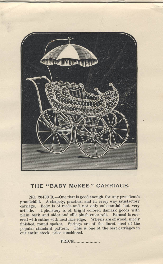 """Baby McKee"" Carriage from 1891 Butler Brothers trade catalog, Special Catalogue of Baby Carriages."