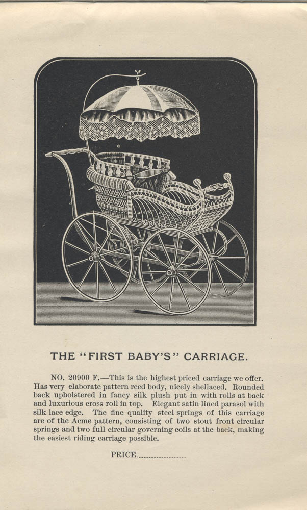 """First Baby's"" Carriage from 1891 Butler Brothers trade catalog, Special Catalogue of Baby Carriages"