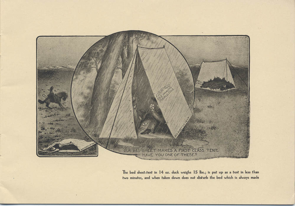 Burch Combination Bed Sheet, Tent and Sleeping Bag at a campsite in the rain,  Image number:SIL-038-81-06