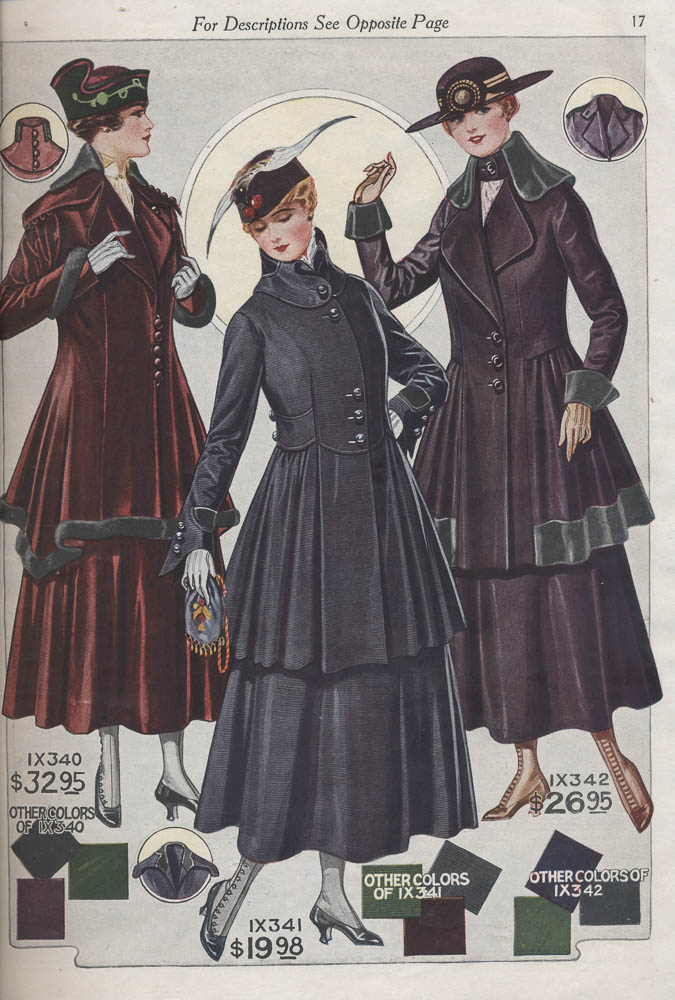 Ladies' suits in 1916-1917 Fall and Winter Catalogue No. 74 by Bellas Hess & Co.