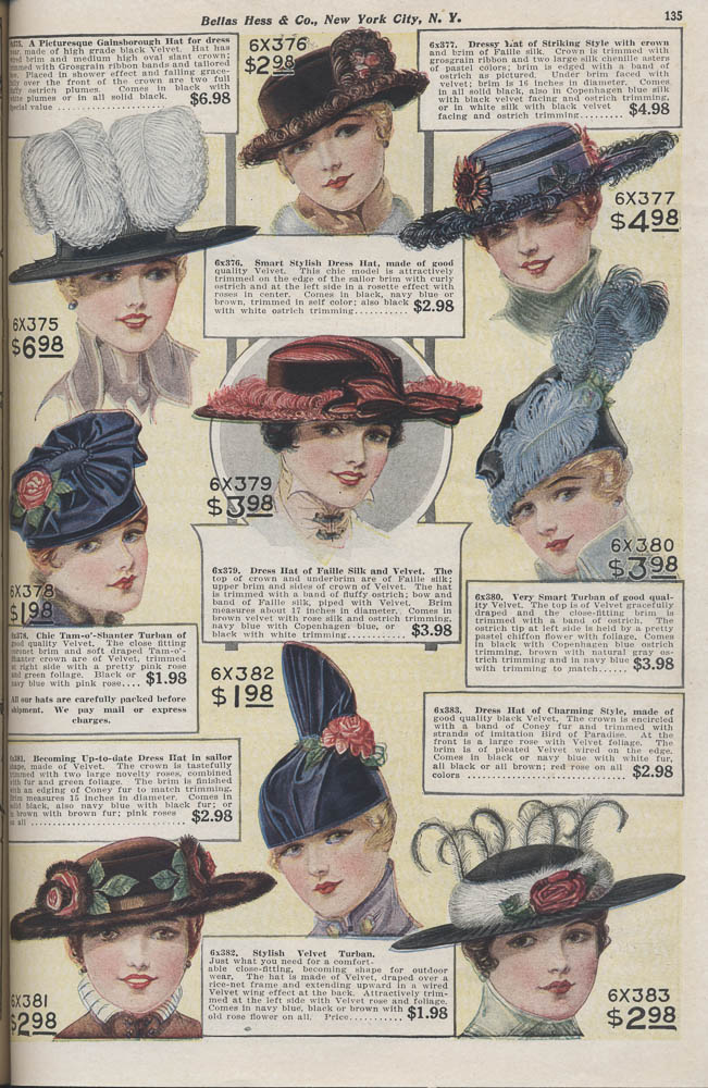 Hats in 1916-1917 Fall and Winter Catalogue No. 74 by Bellas Hess & Co.