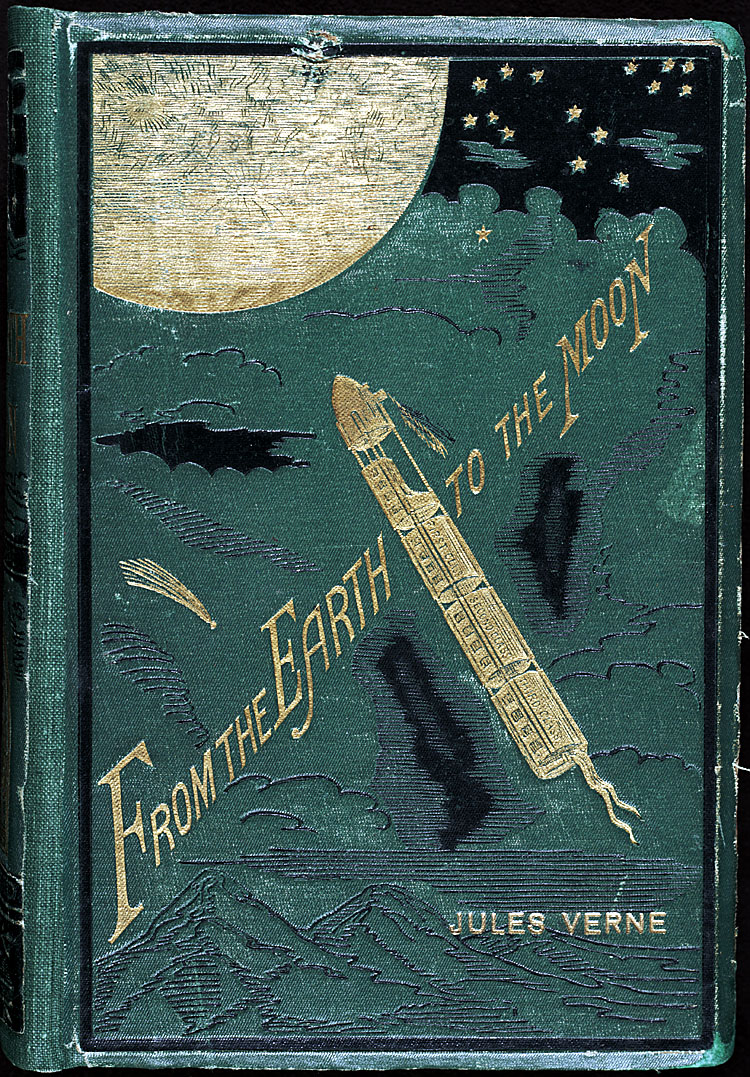The front cover of the book carries an embossed illustration of the frontispiece. Note the