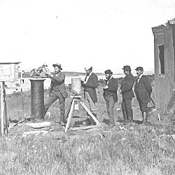 U.S. Naval Observatory staff at the observing station on Kerguelen Island, 1874