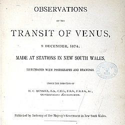 Observations of the transit of Venus, 9 December, 1874 : made at stations in New South Wales