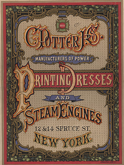 C. Potter Jr. & Co. Manufacturers of Power Printing Presses and Steam Engines