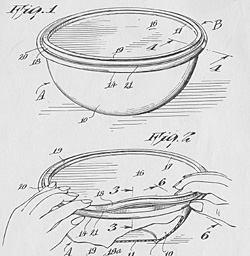 Patent drawing of bowl and cover